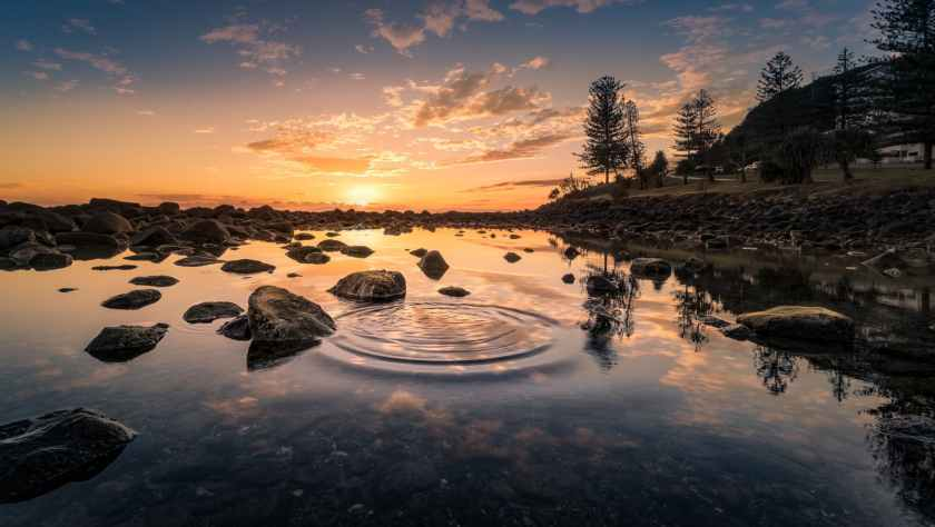 dawn dusk nature ripple